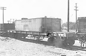 Side end view of water car #06209 (flat with tender tank) at Alamosa.<br /> D&amp;RGW  Alamosa, CO  Taken by Schnepf, Ted - 6/1971