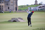 5th October 2017, The Old Course, St Andrews, Scotland; Alfred Dunhill Links Championship, first round; Paul Waring of England drives at the 18th during the first round at the Alfred Dunhill Links Championship on the Old Course, St Andrews