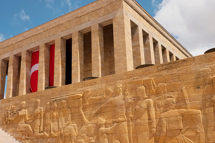An expansive bias relief mural creates the foreground below the Ataturk Mausoleum in Ankara.