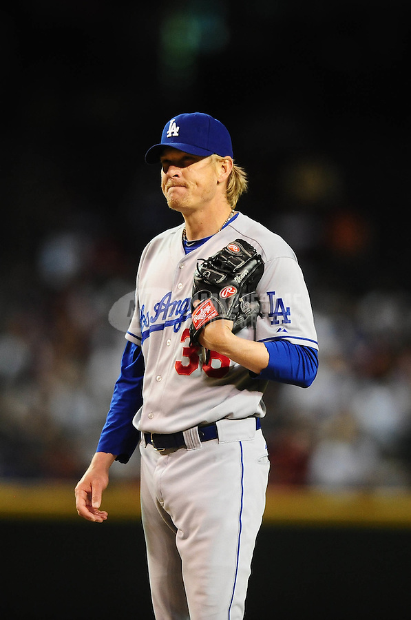 May 11, 2010; Phoenix, AZ, USA; Los Angeles Dodgers pitcher Jeff Weaver against the Arizona Diamondbacks at Chase Field. Mandatory Credit: Mark J. Rebilas-