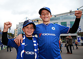 30th September 2017, Stamford Bridge, London, England; EPL Premier League football, Chelsea versus Manchester City; Young group of Chelsea fans pose outside Stamford Bridge before kick off