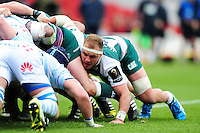 Lachlan McCaffrey of Leicester Tigers in action at a scrum. European Rugby Champions Cup semi final, between Leicester Tigers and Racing 92 on April 24, 2016 at The City Ground in Nottingham, England. Photo by: Patrick Khachfe / JMP