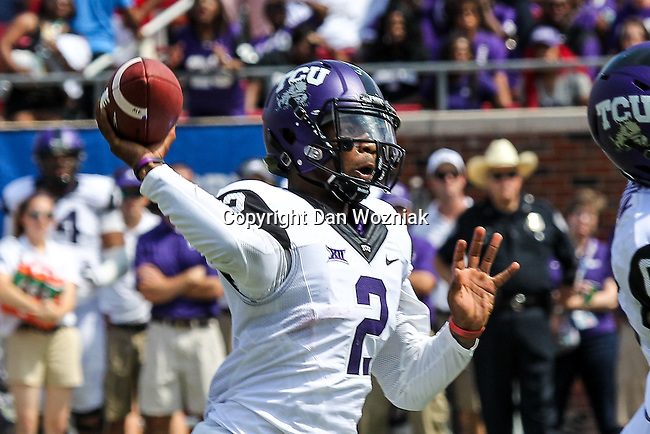 TCU Horned Frogs quarterback Trevone Boykin (2) in action during the game between the TCU Horned Frogs and the SMU Mustangs at the Gerald J. Ford Stadium in Fort Worth, Texas. TCU defeats SMU 56 to 0.