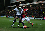 Chris Humphrey of Preston North End out muscles Luke Shaw of Manchester United - FA Cup Fifth Round - Preston North End  vs Manchester Utd  - Deepdale Stadium - Preston - England - 16th February 2015 - Picture Simon Bellis/Sportimage