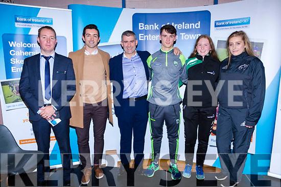 The Sports Panel at the Bank of Ireland Enterprise in Cahersiveen on Friday were l-r; Sean Brosnan(Manager BofI Cahersiveen), Aidan O'Mahony, Liam Sheedy(RTE Sunday Game), Michael O'Leary, Síofra O'Shea & Lea Turner.