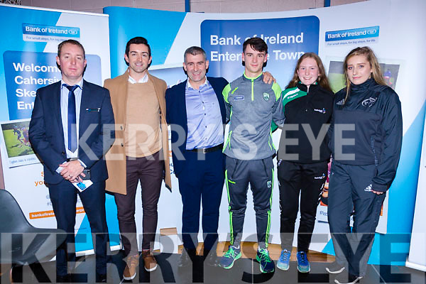 The Sports Panel at the Bank of Ireland Enterprise in Cahersiveen on Friday were l-r; Sean Brosnan(Manager BofI Cahersiveen), Aidan O'Mahony, Liam Sheedy(RTE Sunday Game), Michael O'Leary, Síofra O'Shea & Lea Turner.