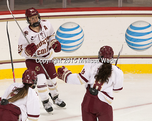 Haley Skarupa (BC - 22), Dana Trivigno (BC - 8) - The Boston College Eagles defeated the visiting UConn Huskies 4-0 on Friday, October 30, 2015, at Kelley Rink in Conte Forum in Chestnut Hill, Massachusetts.