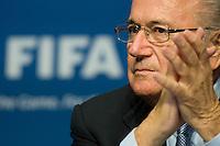 17.Jul.2012; Zuerich; Fussball  - MK FIFA Exekutiv Komitee;.Praesident Josef Sepp Blatter waehrend der Medienkonferenz (Andy Mueller/freshfocus)