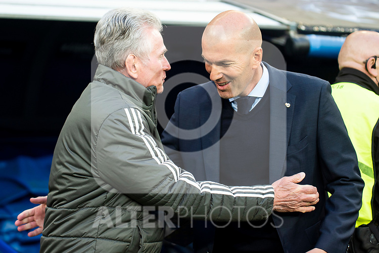 Real Madrid coach Zinedine Zidane and Bayern Munich coach Jupp Heynckes during Semi Finals UEFA Champions League match between Real Madrid and Bayern Munich at Santiago Bernabeu Stadium in Madrid, Spain. May 01, 2018. (ALTERPHOTOS/Borja B.Hojas)