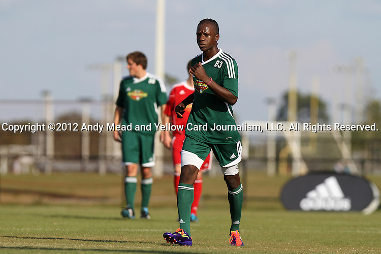 06 January 2012: Darren Mattocks (Akron) (JAM). The 2012 MLS Player Combine was held on the cricket oval at Central Broward Regional Park in Lauderhill, Florida.