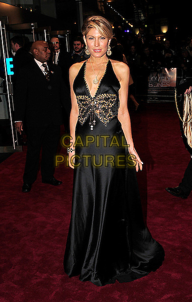 HOFIT GOLAN.The Royal Film premiere of 'The Lovely Bones' at the Odeon, Leicester Square, London, England. .November 24th 2009 .full length black halterneck beaded beads jewelled jewel encrusted long maxi dress gold butterfly pattern .CAP/BEL.©Tom Belcher/Capital Pictures.