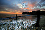 Winter sunset at freshwater bay, isle of wight