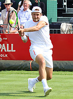 Lucas Pouille plays at the Aspall Tennis Classic at Hurlingham Club, London on 26 June 2019<br /> <br /> Photo by Keith Mayhew