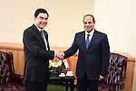 Egypt's president Abdel Fattah Al Sisi shakes hands with president of Turkmenistan Gurbanguly Berdimuhamedov, during the meetings of the UN General Assembly in Manhattan, New York, September 26, 2015. More than 150 world leaders are expected to attend the U.N. Sustainable Development Summit from September 25-27 at the United Nations in New York to formally adopt an ambitious new sustainable development agenda a press statement by the U.N. stated. Photo by Egyptian President Office