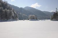 Deutschland, Bayern, Oberbayern, Chiemgau, zwischen Ruhpolding und Reit im Winkl, Schneelandschaft am Weitsee, Obersee mit Insel Bidlieger