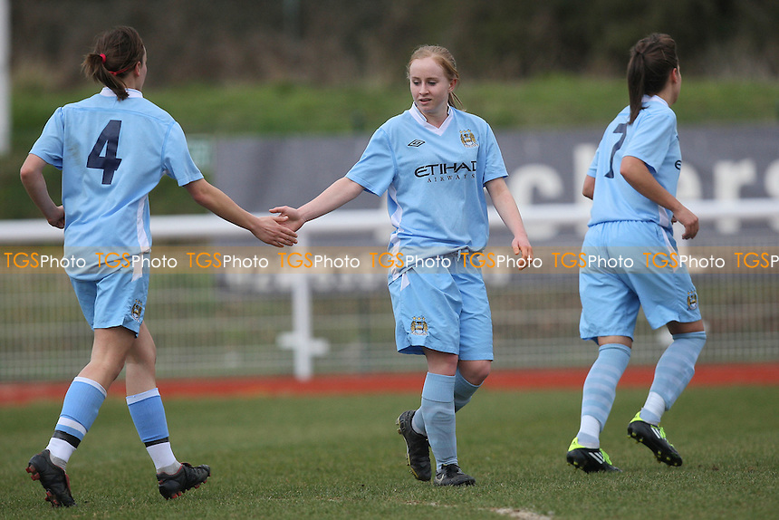 Becky Grocott (C) scores the first goal for Manchester City and celebrates - Enfield Town Ladies vs Manchester City Ladies - FA Womens Cup 4th Round Football at the Queen Elizabeth II Stadium - 26/02/12 - MANDATORY CREDIT: Gavin Ellis/TGSPHOTO - Self billing applies where appropriate - 0845 094 6026 - contact@tgsphoto.co.uk - NO UNPAID USE.