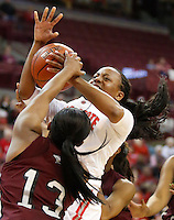 North Carolina's Rachel Williams (13) fouls Ohio State's Ameryst Alston (14)  during a women's basketball game between the Ohio State Buckeyes and the North Carolina Central Eagles on December 29, 2013 at Value City Arena. (Columbus Dispatch photo by Fred Squillante)