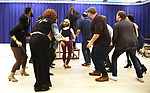 """Norm Lewis and cast during """"The Music Man"""" Media Day Rehearsal at the New 42nd Street Studios on January 24, 2019 in New York City."""