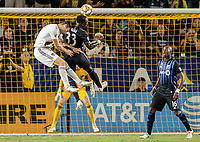 CARSON, CA - SEPTEMBER 21: Dave Romney #4 of the Los Angeles Galaxy and Bacary Sagna #33 battle in the box during a game between Montreal Impact and Los Angeles Galaxy at Dignity Health Sports Park on September 21, 2019 in Carson, California.
