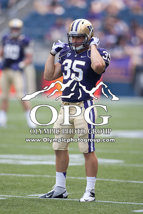 Sept 15, 2012:  Washington's Cole Sager against Portland State.  Washington defeated Portland State 52-13 at CenturyLink Field in Seattle, Washington...