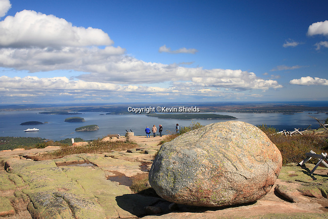 Visitors at the summit of Cadillac Mountain, Acadia National Park, Maine, USA