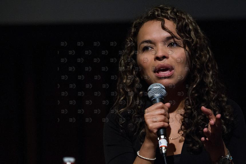 CIUDAD DE MEXICO, DF. 23 de mayo.-  Ginna Morelo durante el 7 aniversario de Periodistas de a Pie en el Centro Cultural España en la Ciudad de México el  23 de mayo de 2014.  ALEJANDRO MELENDEZ