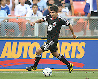 Jaime Moreno #99 of D.C. United races down the line during an international charity match against the national team of El Salvador at RFK Stadium, on June 19 2010 in Washington DC. D.C. United won 1-0.