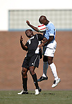11 September 2005: Andre Sherard (r) and Ayo Akinsete (9) challenge for a header. The University of North Carolina Tarheels defeated the University of South Carolina Gamecocks 2-0 in an NCAA Divison I men's soccer game at Fetzer Field in Chapel Hill, NC.