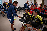 Mikel Landa (ESP/Movistar) greeting Esteban Chavez (COL/Mitchelton-Scott) & Mikel Nieve (ESP/Mitchelton-Scott) ahead of the official team presentation of the 102nd Giro d'Italia 2019 at the Grande Partenza in Bologna<br /> <br /> ©kramon