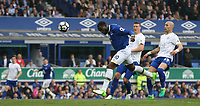 Everton's Romelu Lukaku scores his sides equalising goal to make the score 2-2 with this unmarked header<br /> <br /> Photographer Stephen White/CameraSport<br /> <br /> The Premier League - Everton v Leicester City - Sunday April 9th 2017 - Goodison Park - Liverpool<br /> <br /> World Copyright &copy; 2017 CameraSport. All rights reserved. 43 Linden Ave. Countesthorpe. Leicester. England. LE8 5PG - Tel: +44 (0) 116 277 4147 - admin@camerasport.com - www.camerasport.com