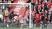 Manchester City's Benjamin Mendy denies an early Liverpool's Mohamed Salah effort<br /> <br /> Photographer Rich Linley/CameraSport<br /> <br /> The Premier League - Liverpool v Manchester City - Sunday 7th October 2018 - Anfield - Liverpool<br /> <br /> World Copyright &copy; 2018 CameraSport. All rights reserved. 43 Linden Ave. Countesthorpe. Leicester. England. LE8 5PG - Tel: +44 (0) 116 277 4147 - admin@camerasport.com - www.camerasport.com