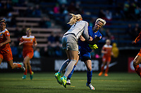 Seattle, Washington -  Saturday April 22, 2017: Jane Campbell and Megan Rapinoe during a regular season National Women's Soccer League (NWSL) match between the Seattle Reign FC and the Houston Dash at Memorial Stadium.