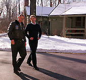 Thurmont, MD - February 23, 2001 -- United States President George W. Bush and Prime Minister Tony Blair of Great Britain head out for a walk at Camp David, near Thurmont, Maryland on February 23, 2001..Credit: Martin Simon - Pool / CNP
