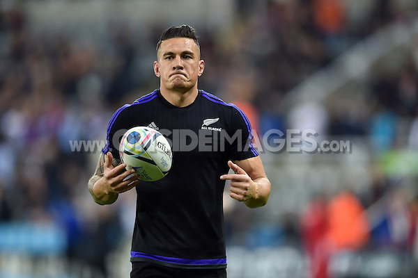 Sonny Bill Williams of New Zealand with the ball during the pre-match warm-up. Rugby World Cup Pool C match between New Zealand and Tonga on October 9, 2015 at St James' Park in Newcastle, England. Photo by: Patrick Khachfe / Onside Images