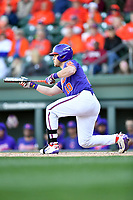 Clemson Tigers catcher Kyle Wilkie (10) squares to bunt during a game against the South Carolina Gamecocks at Fluor Field on March 3, 2018 in Greenville, South Carolina. The Tigers defeated the Gamecocks 5-1. (Tony Farlow/Four Seam Images)