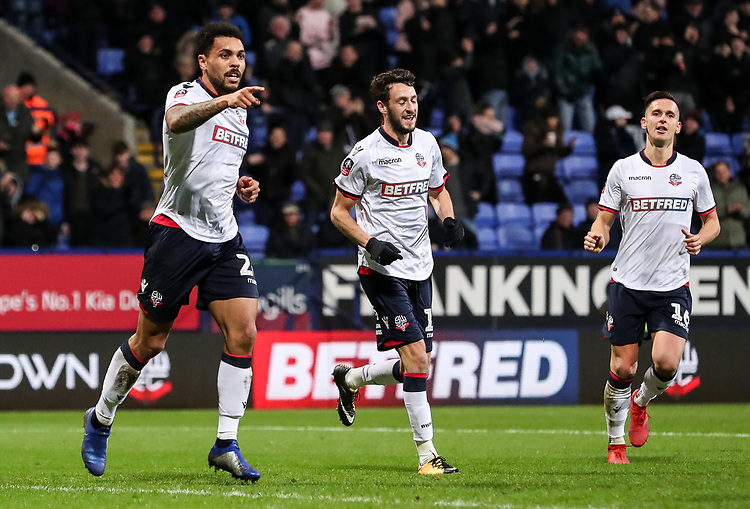 Bolton Wanderers' Josh Magennis celebrates scoring his side's second goal with team mates Will Buckley and Pawel Olkowski <br /> <br /> Photographer Andrew Kearns/CameraSport<br /> <br /> Emirates FA Cup Third Round - Bolton Wanderers v Walsall - Saturday 5th January 2019 - University of Bolton Stadium - Bolton<br />  <br /> World Copyright © 2019 CameraSport. All rights reserved. 43 Linden Ave. Countesthorpe. Leicester. England. LE8 5PG - Tel: +44 (0) 116 277 4147 - admin@camerasport.com - www.camerasport.com