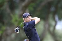 Lasse Jensen (DEN) tees off the 9th tee during Sunday's storm delayed Final Round 3 of the Andalucia Valderrama Masters 2018 hosted by the Sergio Foundation, held at Real Golf de Valderrama, Sotogrande, San Roque, Spain. 21st October 2018.<br /> Picture: Eoin Clarke | Golffile<br /> <br /> <br /> All photos usage must carry mandatory copyright credit (&copy; Golffile | Eoin Clarke)