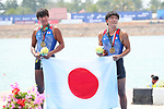Yoshihiro Otsuka &  Yuta Takano (JPN), <br /> AUGUST 23, 2018 - Rowing : <br /> Men's pair  Medal ceremony <br /> at Jakabaring Sport Center Lake <br /> during the 2018 Jakarta Palembang Asian Games <br /> in Palembang, Indonesia. <br /> (Photo by Yohei Osada/AFLO SPORT)