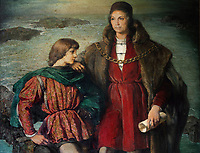 Portrait of Diego Colon with his father Christopher Colombus, detail, oil painting, 1957, by Rafael Pellicer, 1906-63, in Diego Colon's office, in the Alcazar de Colon, or Columbus Alcazar, built 1510-12 in Gothic Mudejar style, under Diego Colon, son of Christopher Columbus, who was 4th Governor of the Indies, in the Colonial Zone of Santo Domingo, capital of the Dominican Republic, in the Caribbean. The building houses the Museo Alcazar de Diego Colon, displaying Gothic and Renaissance European art. Santo Domingo's Colonial Zone is listed as a UNESCO World Heritage Site. Picture by Manuel Cohen
