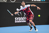11th January 2018, Sydney Olympic Park Tennis Centre, Sydney, Australia; Sydney International Tennis,quarter final; Fabio Fognini (ITA) prepares to hit a forehand return in his match against Adrian Mannarino (ITA)