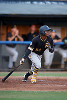 Bristol Pirates second baseman Francisco Mepris (54) hits an RBI single during a game against the Bluefield Blue Jays on July 26, 2018 at Bowen Field in Bluefield, Virginia.  Bristol defeated Bluefield 7-6.  (Mike Janes/Four Seam Images)
