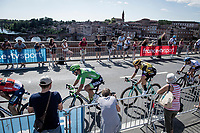 450 meters from the finish, Wout van Aert (BEL/Jumbo - Visma) is behind Green Jersey leader Peter Sagan (SVK/Bora-Hansgrohe) to anticipate the upcoming bunch sprint<br /> <br /> Stage 10: Saint-Flour to Albi(217km)<br /> 106th Tour de France 2019 (2.UWT)<br /> <br /> ©kramon