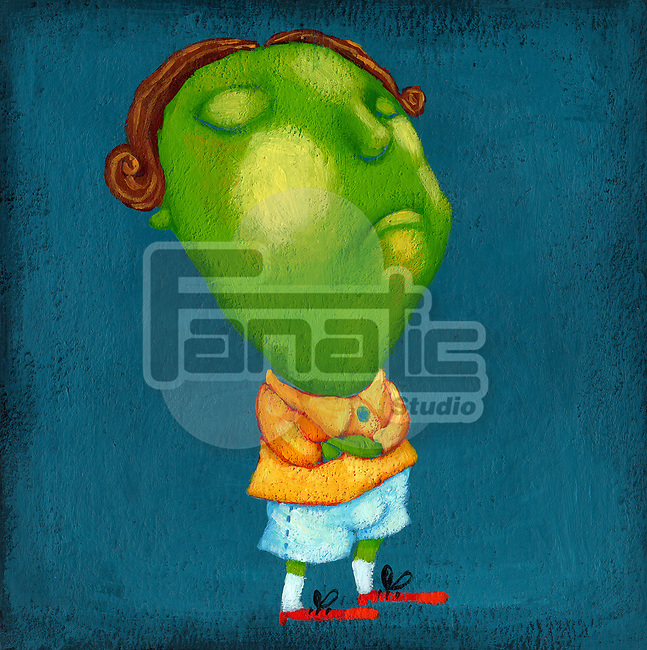 Illustration of depressed boy standing over blue background
