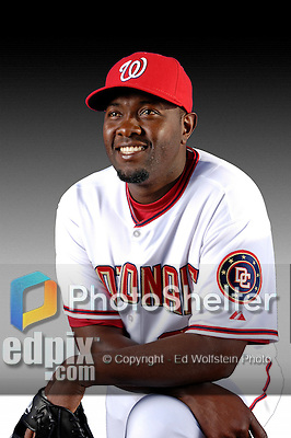 25 February 2007: Washington Nationals pitcher Anastacio Martinez poses for his Photo Day portrait at Space Coast Stadium in Viera, Florida.<br /> <br /> Mandatory Photo Credit: Ed Wolfstein Photo<br /> <br /> Note: This image is available in a RAW (NEF) File Format - contact Photographer.