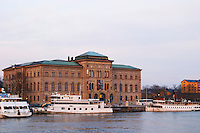 The National Museum, Nationalmuseet, for the fine arts on Blasieholmen. White Waxholm boats in front. White Waxholm boats Waxholmsbatar typical for the archipelago traffic. Stockholm. Sweden, Europe.