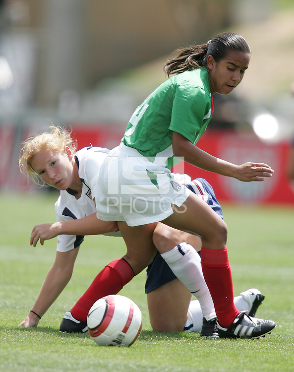 Lori Chalupny, left, Monica Vergara, right, USA v Mexico, 2004.