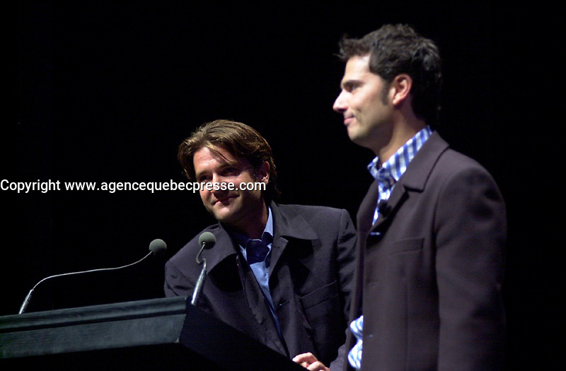 Aug 22 2002, Montreal, Quebec, Canada<br /> <br /> Actor Olivier Atache-Vidal (L) and director<br /> Arnaud De La Lande (R) adress the audience after the projection of the short movie UNDERCOVER,<br />  before the opening movie of the 26th World Film Festival, August 22rd 2002<br /> <br /> Mandatory Credit: Photo by Pierre Roussel- Images Distribution. (&copy;) Copyright 2002 by Pierre Roussel <br /> <br /> NOTE : <br />  Nikon D-1 jpeg opened with Qimage icc profile, saved in Adobe 1998 RGB<br /> .Uncompressed  Uncropped  Original  size  file availble on request.