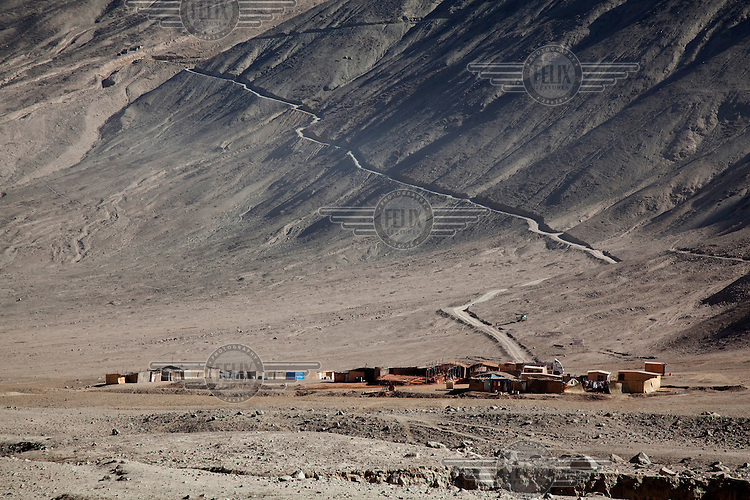A brand new human settlement, made by gold miners, near the village of Cuatro Horas in the department of Arequipa.