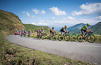 Eventual stage winner Mikel Iturria (ESP/Euskadi Basque Country - Murias) leading the breakaway group (in pursuit of 2 others) crossing the Basque Country up the Col d'Ispeguy (8.1km @6.3%) that is on the actual border between France & Spain<br /> <br /> Stage 11: Saint-Palais to Urdax-Dantxarinea (180km in The Basque Country > FRA & ESP) <br /> La Vuelta 2019<br /> <br /> ©kramon