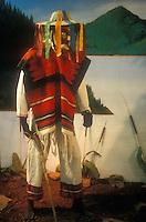 Purepecha Danza de los Viejitos dancer figure in the Museo Nacional de la Mascara or National Museum of the Mask, San Luis Potosi, Mexico